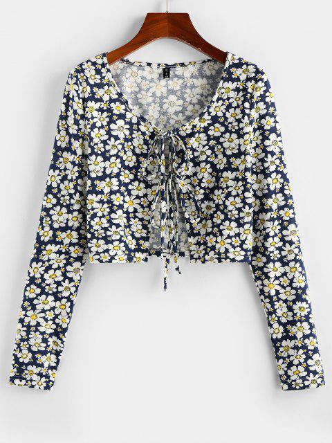 ZAFUL Gebundenes Gänseblümchendruck Zugeschnittes T-Shirt - Tiefes Blau XL Mobile