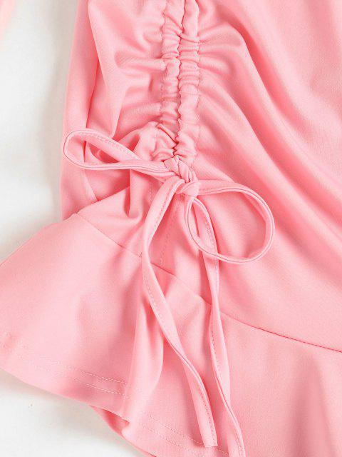 buy Cinched Ruffle Hem Mini Dress - PINK L Mobile
