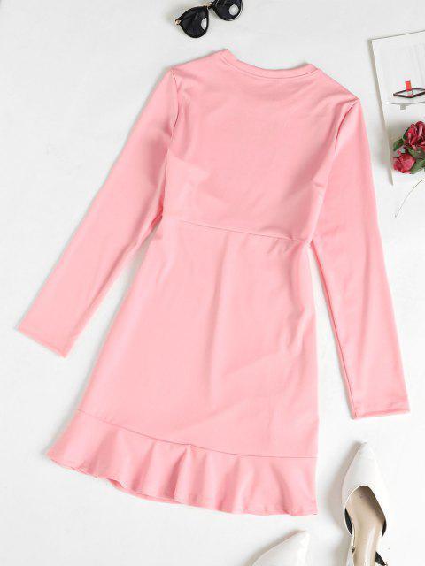 online Cinched Ruffle Hem Mini Dress - PINK S Mobile
