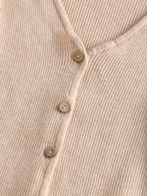 women's ZAFUL Flare Sleeve Cropped Cardigan - LIGHT COFFEE M Mobile