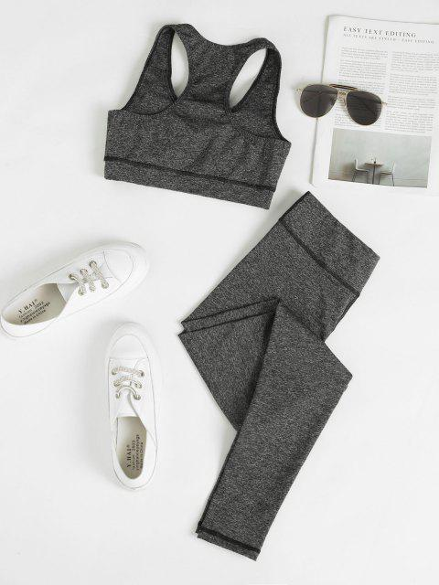 unique Heathered Space Dye Racerback Padded Gym Suit - DARK GRAY L Mobile