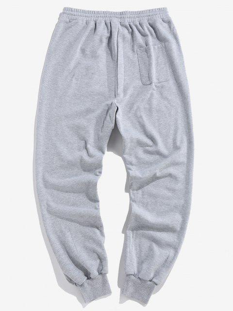 ZAFUL Pantalones Deportivos con Estampado de Letras con Bandera Americana - Gris Claro M Mobile