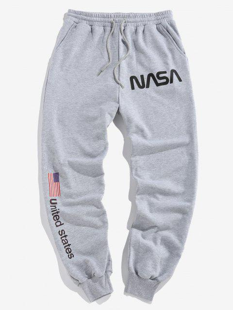 outfits ZAFUL American Flag Letters Print Drawstring Sweatpants - LIGHT GRAY XL Mobile
