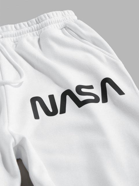 ZAFUL Pantalones Deportivos con Estampado de Letras con Bandera Americana - Blanco M Mobile