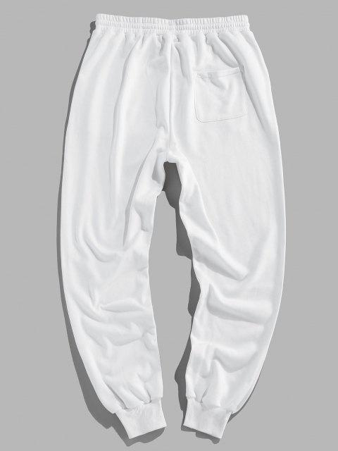 ZAFUL Pantalones Deportivos con Estampado de Letras con Bandera Americana - Blanco L Mobile
