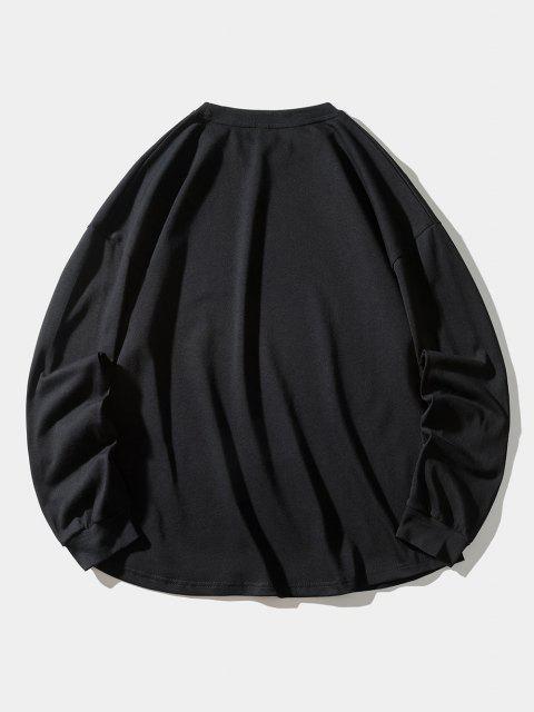 Buchstabe Quallen Muster Sweatshirt - Schwarz XL Mobile