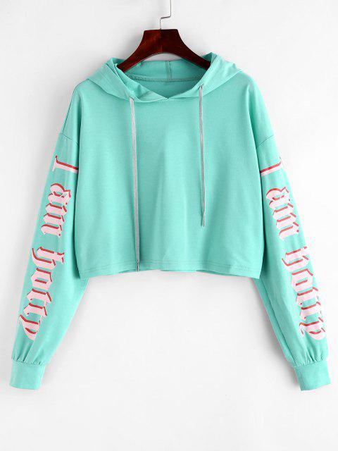 ZAFUL Drop Shoulder Pattern Sleeve Drawstring Hoodie - متوسطة الفيروز L Mobile