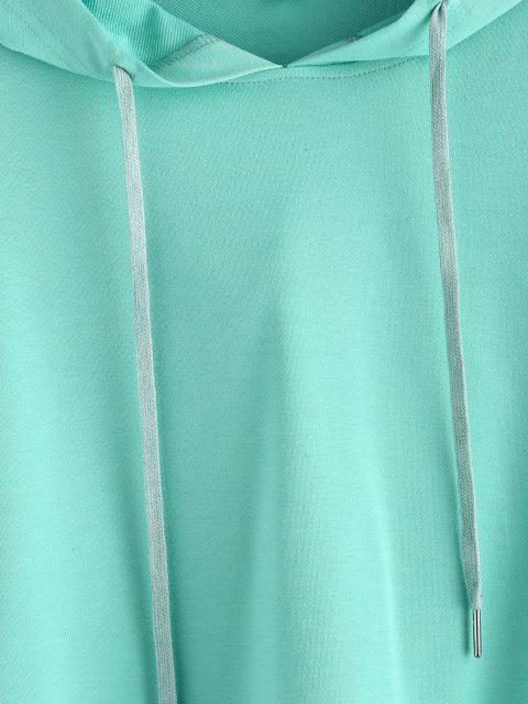 ZAFUL Sweat à Capuche Motif à Goutte Epaule à Cordon - Turquoise Moyenne  XL Mobile