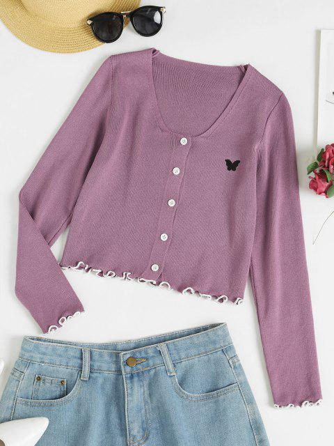 ladies Lettuce Trim Butterfly Crop Cardigan - PURPLE FLOWER ONE SIZE Mobile