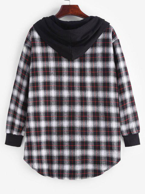 Plaid Button Up Pocket Hooded Coat - أسود 2XL Mobile