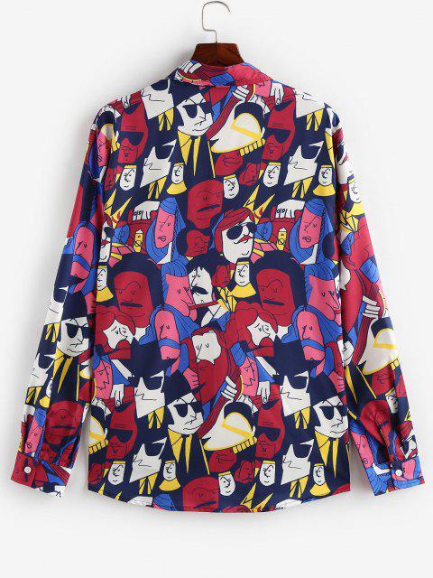 hot ZAFUL Cartoon Face Print Long Sleeve Shirt - DEEP RED S Mobile