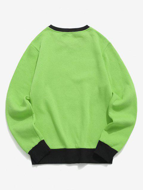 sale Hand and Rose Print Colorblock Fleece Sweatshirt - CHARTREUSE L Mobile