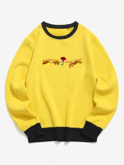 women Hand and Rose Print Colorblock Fleece Sweatshirt - YELLOW L Mobile