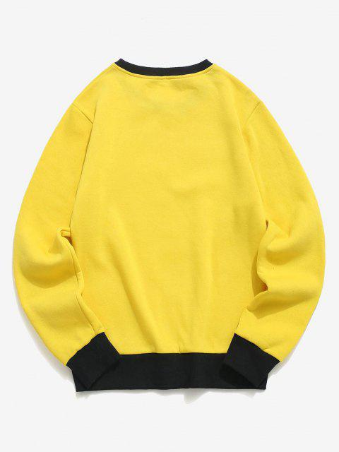 ladies Hand and Rose Print Colorblock Fleece Sweatshirt - YELLOW XL Mobile
