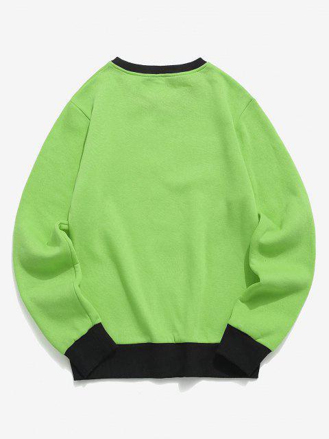 fashion Hand and Rose Print Colorblock Fleece Sweatshirt - CHARTREUSE XL Mobile