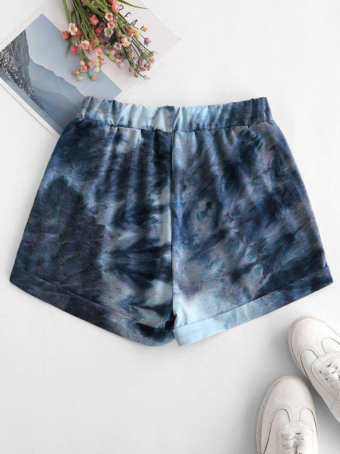 outfit Tie Dye Pocket Cuffed Hem Sweat Shorts - BLUE S Mobile
