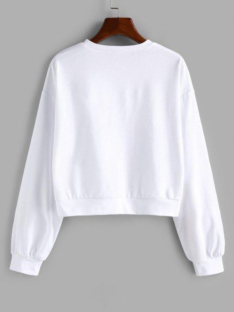 best ZAFUL Drop Shoulder Fist Print Pullover Sweatshirt - WHITE S Mobile