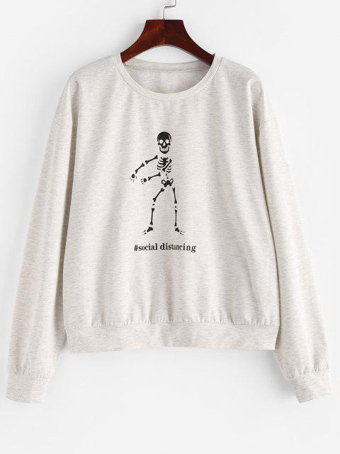 outfit ZAFUL Space Dye Halloween Skeleton Graphic Sweatshirt - PLATINUM S Mobile