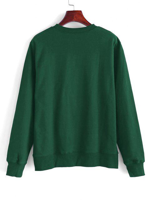 women's Skeleton Skateboard Print Sweatshirt - DEEP GREEN S Mobile