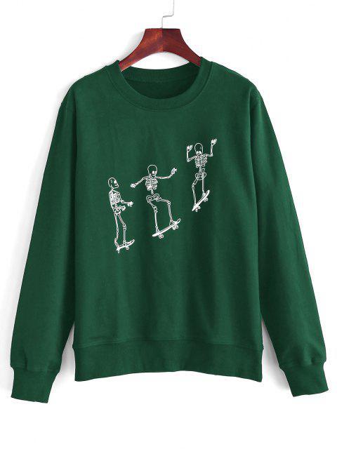 Skeleton Skateboard Print Sweatshirt - ديب غرين S Mobile