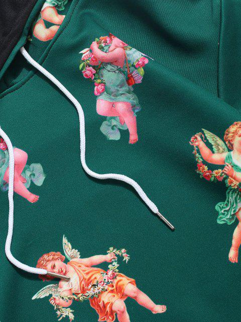 lady Kangaroo Pocket Renaissance Art Angel Print Hoodie - MEDIUM SEA GREEN 2XL Mobile