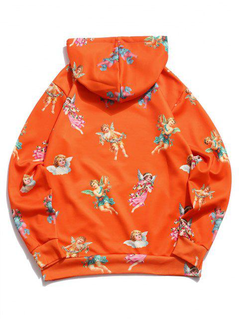 fancy Kangaroo Pocket Renaissance Art Angel Print Hoodie - PUMPKIN ORANGE M Mobile