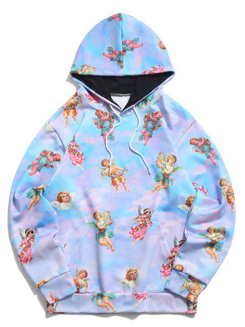 sale Kangaroo Pocket Renaissance Art Angel Print Hoodie - BLUE KOI 3XL Mobile