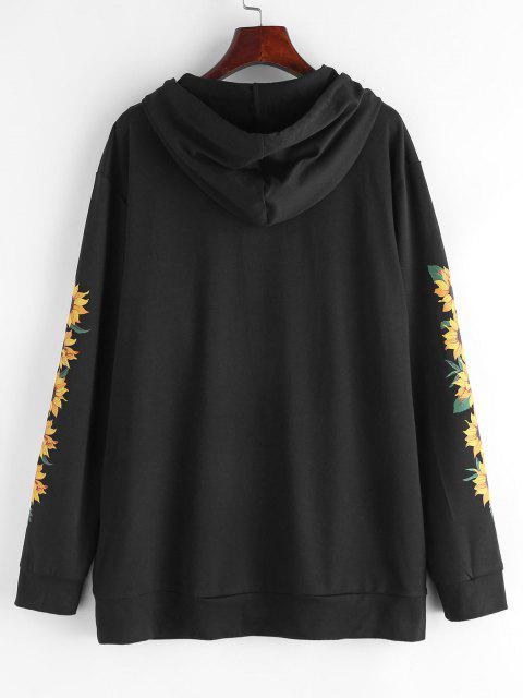 ZAFUL Kangaroo Pocket Sunflower Graphic Pullover Hoodie - أسود L Mobile