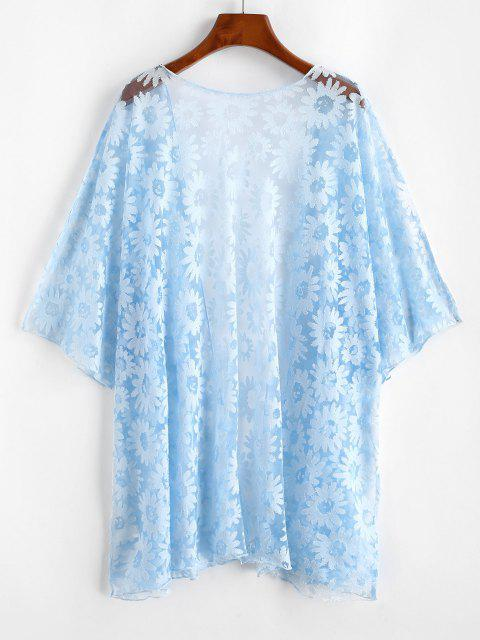 Kimono Couverture Fleuri en Maille de Grande Taille - Bleu clair 3XL Mobile