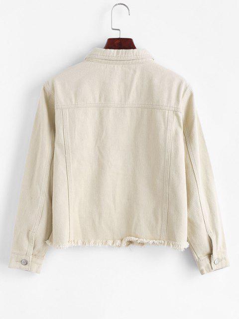 ladies Frayed Hem Pocket Corduroy Denim Jacket - LIGHT YELLOW XL Mobile