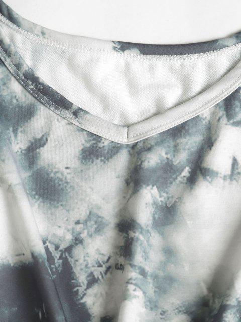 womens Tie Dye Drop Shoulder Drawstring Bermuda Shorts Set - GRAY L Mobile