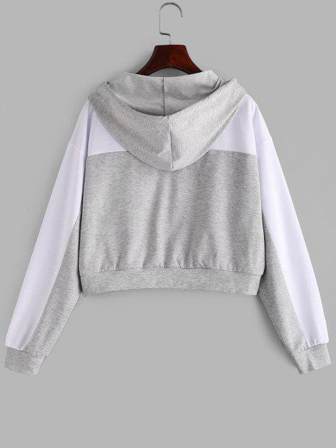 ZAFUL Two Tone Drop Shoulder Pullover Hoodie - بلاتين M Mobile