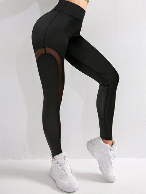 fashion Mesh Panel Topstitch High Waisted Gym Leggings - BLACK S Mobile
