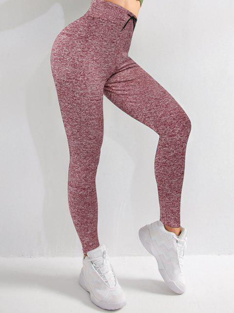 outfit Drawstring Heather Skinny Leggings - DEEP RED S Mobile