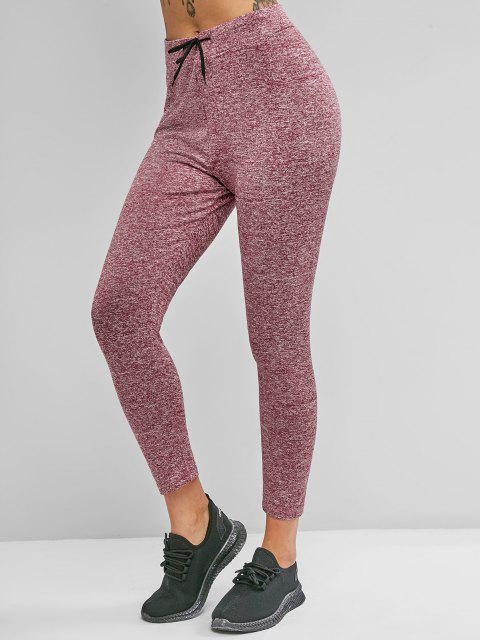 outfits Drawstring Heather Skinny Leggings - DEEP RED M Mobile