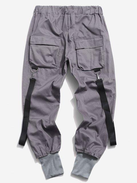 Pantalon Décontracté Cargo Multi-poches - Gris Foncé L Mobile