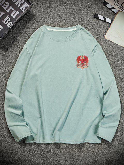 T-shirt Décontracté Graphique Aigle à Col Rond - Turquoise Foncée 2XL Mobile