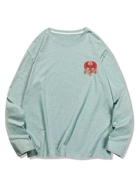 T-shirt Décontracté Graphique Aigle à Col Rond - Turquoise Foncée S Mobile