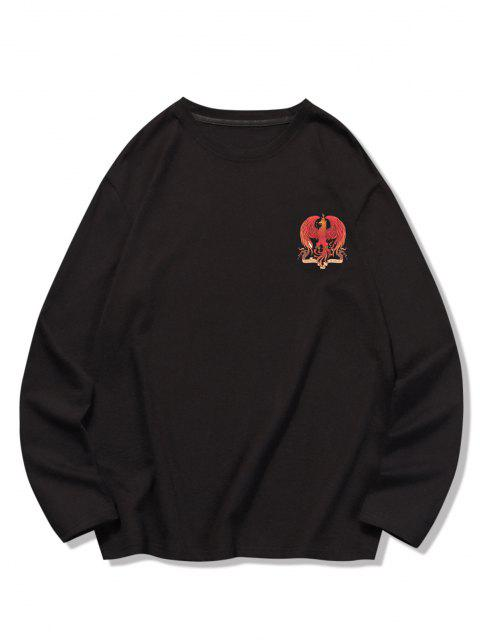 best Crew Neck Eagle Graphic Leisure T Shirt - BLACK 2XL Mobile