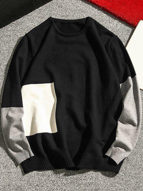 women Crew Neck Geometric Contrast Sweater - BLACK S Mobile