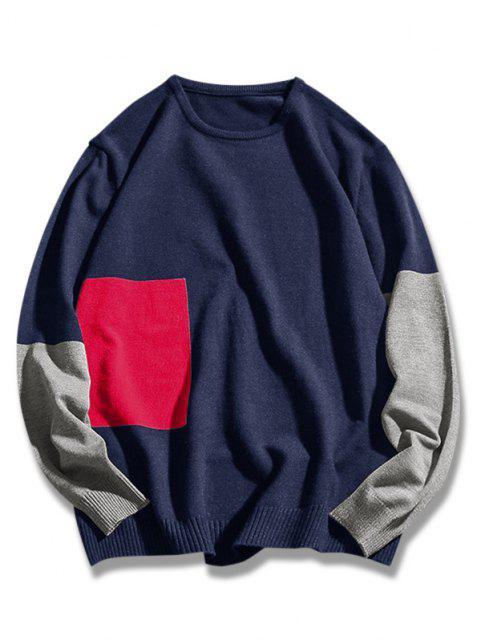 chic Crew Neck Geometric Contrast Sweater - DEEP BLUE XL Mobile