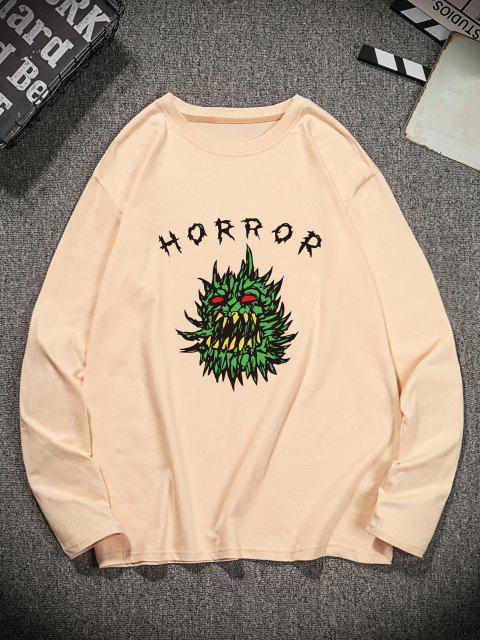 lady Horror Graphic Pattern Long Sleeve T-shirt - CHAMPAGNE L Mobile