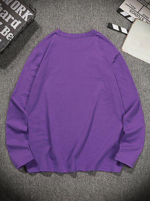 best THINKING Letter Printed Long Sleeves T-shirt - PURPLE IRIS L Mobile