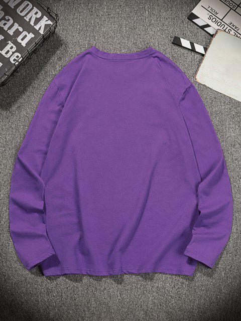 T-Shirt Casuale Stampata con Maniche Lunghe - Iris Porpora L Mobile