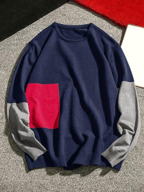 outfits Crew Neck Geometric Contrast Sweater - DEEP BLUE M Mobile