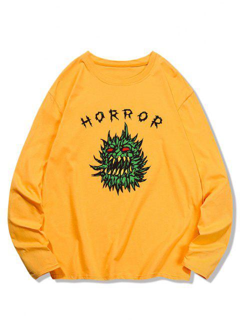 Horror Graphic Pattern Long Sleeve T-shirt - بني ذهبي S Mobile
