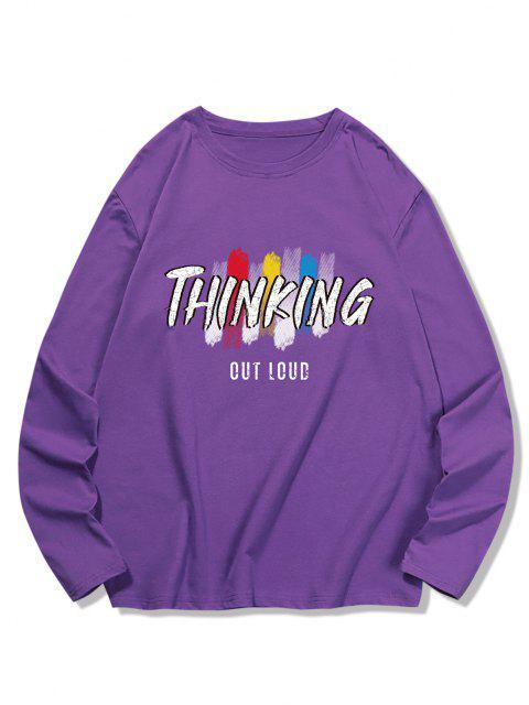 THINKING BuchstabeGedrucktes LangarmT-Shirt - Lila Iris 2XL Mobile