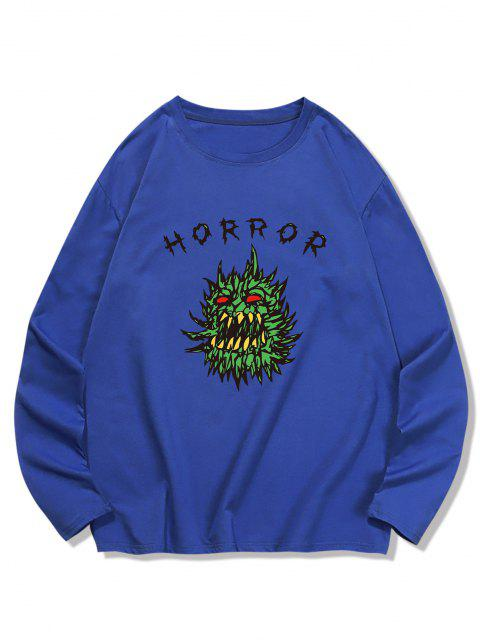 Horror Graphic Pattern Long Sleeve T-shirt - البحريه الزرقاء S Mobile