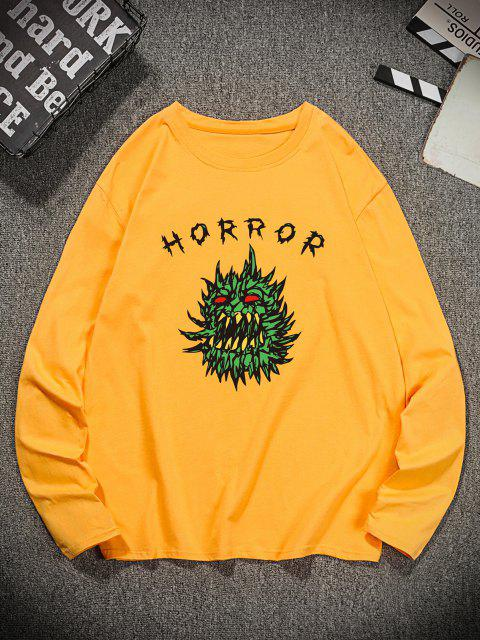 outfit Horror Graphic Pattern Long Sleeve T-shirt - GOLDEN BROWN M Mobile