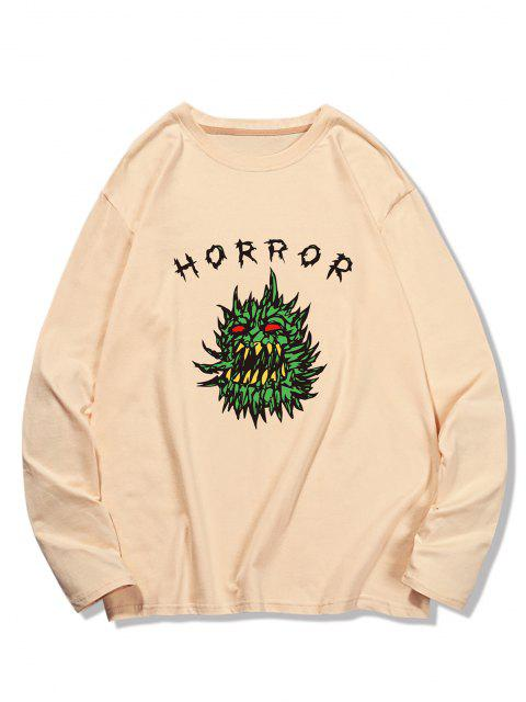 Horror Graphic Pattern Long Sleeve T-shirt - شامبانيا S Mobile